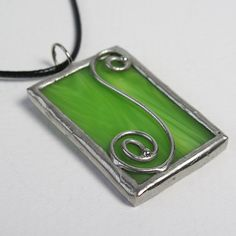 Spring Swirl - Lime Green Stained Glass Pendant with Black Cord by faerieglass