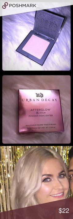 Urban Decay Highlighter Urban Decay Afterglow 8 Hour Powder Highlighter   Color: Aura (iridescent light pink)  *Brand New and never touched. I got my makeup done for my birthday and they used this on me (from a different palette). I bought it but never used. Photo shows how it looks on the skin! 😊 Urban Decay Makeup