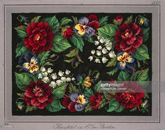 Stock Photo : Pillow or carpet pattern with roses, lilies of the valley and violets, 19th century