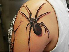 Très tatouage araignee 3d épaule - Tatouage3D.com