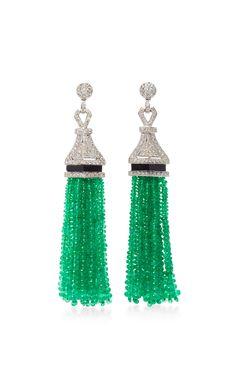 Universal Emerald Drop Earrings by SANJAY KASLIWAL Now Available on Moda Operandi