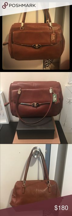 COACH Leather Satchel Purse Genuine buttery leather purse by COACH. Gold hardware details including signature coach turnlock clasp and logo tag. Excellent condition, very little sign of wear. Detachable shoulder strap and dust bag included. Coach Bags Satchels