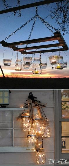 28 super creative & beautiful DIY Outdoor Lights you can make in one hour! Using up-cycled or common materials such as tin cans wine bottles wood paper grapevines and lots more! - A Piece Of Rainbow Outdoor Projects, Home Projects, Pallet Projects, Outdoor Lighting, Outdoor Decor, Lighting Ideas, Landscape Lighting, Table Lighting, Backyard Lighting