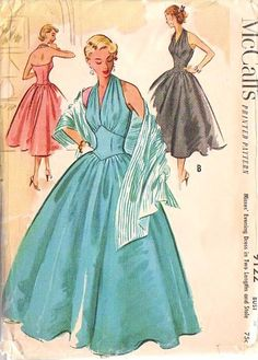 50s Vintage McCalls 9122 Pattern Rockabilly Basque Midriff Halter  Ball Gown, Marilyn Monroe Style Cocktail Party Dress and Stole on Etsy, $87.52 AUD