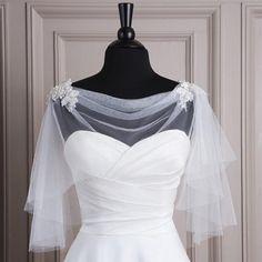 2015 Bridal Jacket Bolero Wedding Shawl Wraps Cape White/Ivory Shrug Soft Tulle