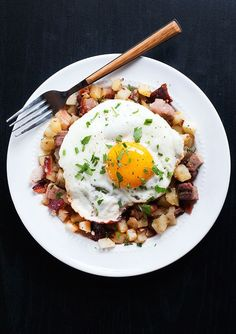 This easy yet satisfying breakfast hash hits all the right notes; salty bacon and ham mixed with sweet apples, and a little spice from the cayenne.