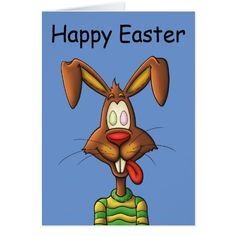 egg mad easter bunny funny cartoon drawing card