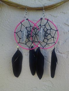 Pink and Black dreamcatcher Earrings by DreamsByAna on Etsy, $18.00