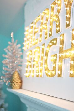 "Christmas Marquee Sign ""Merry and Bright"" Diy Christmas Lights, Decorating With Christmas Lights, Merry Little Christmas, Noel Christmas, Winter Christmas, All Things Christmas, Christmas Crafts, Christmas Decorations, Christmas Letters"