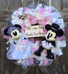 Disney Wedding, Disney Wreath, Mickey & Minnie, Wedding Decor, Happily Ever After