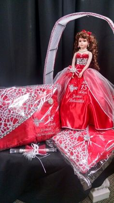 Personalized 15 añera set with invitation, last doll, kneeling pillow, and sign in book (guest book) made by Karen's Bridal