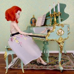 "One of a kind refurbished vintage Susy Goose Barbie piano for your 12"" fashion dolls Gold Acrylic Paint, Diorama Ideas, Vanity Tray, Gold Silk, Doll Stuff, Illustrations And Posters, Silk Fabric, Beautiful Dolls, Vintage Looks"