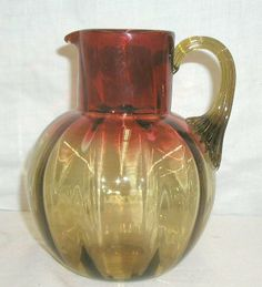 Victorian amberina glass water pitcher