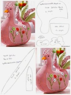 very cute chicken pattern Easter Crafts, Felt Crafts, Fabric Crafts, Sewing Toys, Sewing Crafts, Hobbies And Crafts, Diy And Crafts, Doll Patterns, Sewing Patterns