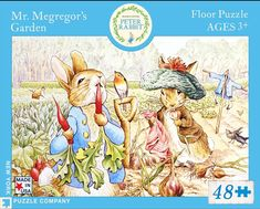 """Mr. McGreggor's Garden is part of the Peter Rabbit 48 piece floor puzzle series by New York Puzzle Co. Puzzle measures 18"""" x 24"""" when complete."""
