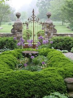 Mounding hedge, stone walls & antique iron gate with a view to expansive lawns & trees behind | Jardin du Buis, Pottersville, New Jersey