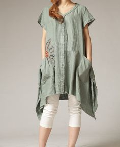 Loose put on a large linen mini dress by MaLieb on Etsy, $99.00