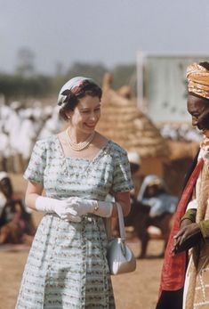 1956 Queen Elizabeth II with Government minister Makaman Bida during her Commonwealth visit to Nigeria.