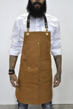 Bartender Apron in Brown Canvas