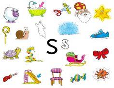 Woordjes met beginklank S Toddler Worksheets, Beginning Sounds, Alphabet Activities, Snoopy, Clip Art, Teaching, Logos, School, Google