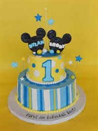 Mickey 1st birthday 2 tier cake