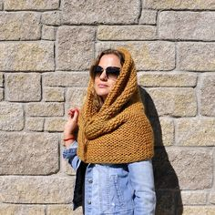 Knit scarf snood Hooded scarf hooded cowl chunky knit