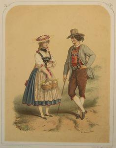 Schweizer Trachten. 2 Bll. Lithographien (Tonlitho und kol. Litho), 19. Jh.
