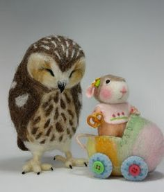 Needle felted owl and mouse