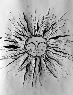 bohemian sun drawing - Google Search