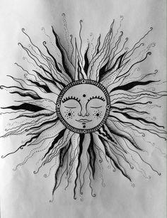 bohemian sun drawing - Google Search