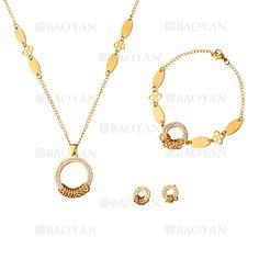 530c803f9e7c juego collar aretes y brazalete de circulos brillante moda en acero dorado  inoxidable -SSNEG1153590