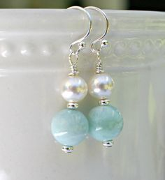 Natural Larimar and Swarovski crystal pearl by FantabulousJewelz, $30.00