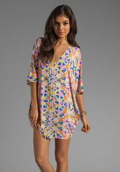 Mara Hoffman Printed Button Down Poncho Dress in Aloha Stone