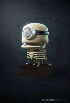 el esqueleto antiguo de uno de los minions