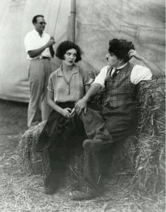"""Charlie Chaplin and Merna Kennedy on set of """"The Circus"""" photographed by Margaret Chute."""