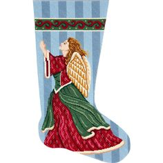 Affordable Needlepoint Stocking Kit called Angel in Praise. Color printed canvas and threads included.