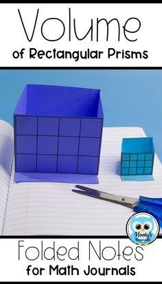 Volume - Folded Note Taking for Interactive Journals 5th Grade Activities, Teaching 5th Grade, 5th Grade Math, Teaching Math, Measurement Activities, Fourth Grade, Preschool Activities, Math For Kids, Fun Math