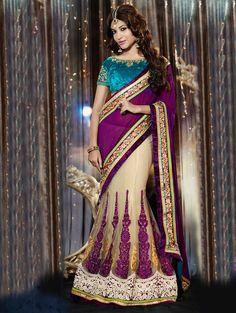 Cream And Purple Net Lehenga Saree With Embroidery Work