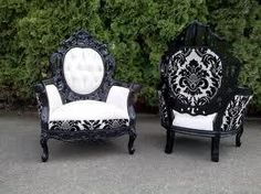 baroque black and white fabulous toile upholestry chairs