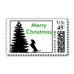 Dachshund postage stamp for Christmas