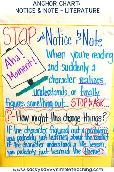 Notice and Note Anchor Chart for Literature texts. This anchor chart is a great visual tool when using the Notice and Note strategies to improve reading comprehension. Help your students comprehend literature texts. Reading Strategies, Reading Skills, Reading Comprehension, Reading Lessons, Math Lessons, Writing Skills, Cloze Reading, Teaching Reading, Guided Reading