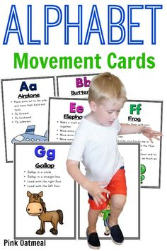Moving while learning the alphabet.  Such a fun way to learn letters and sounds.