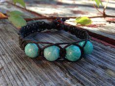 Amazonite Crystal Beads Black Organic Hemp Bracelet by TheSunLab, $7.50