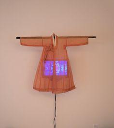 """Ommah"" (which means mother in Korean) - by Nam June Paik Op Art, Kitsch, Nam June Paik, Animal Art Projects, Bokashi, Fluxus, Subtractive Color, Korean Art, Textiles"