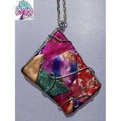 $25.00 Neck Art Pendant Odd Diamond Colourful by NeckArt on Handmade Australia