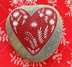 painted river rock - red heart by Nantucket Mermaid