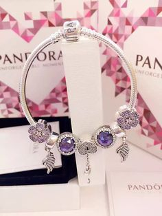 50% OFF!!! $199 Pandora Charm Bracelet Purple. Hot Sale!!! SKU: CB01751 - PANDORA Bracelet Ideas
