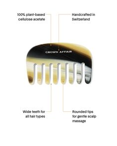 The Comb No. 001 - Crown Affair Cellulose Acetate, Hair Comb, Hair Type, Plant Based, Teeth, Affair, Crown, Hair Products, Book