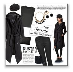 """Duster Jackets"" by ceci-alva on Polyvore featuring Mode, H&M, Topshop, San Diego Hat Co. und Anne Klein"