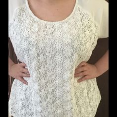 Simply Be UK Crocheted and Sheer Top Beautiful spring/summer top from England's Simply Be shop. Lovely crocheted front and sheer back. Please note that this top is between an off white/cream colour. Simply Be UK Tops Blouses